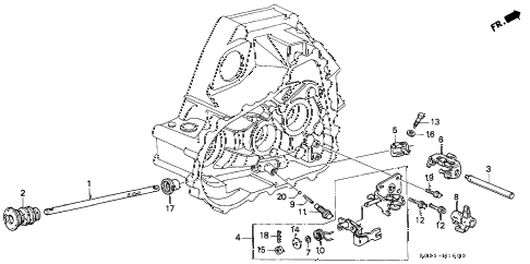 2000 civic SI 2 DOOR 5MT MT SHIFT ROD - SHIFT HOLDER (DOHC) diagram