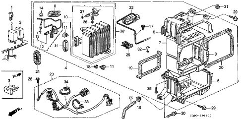 1998 civic DX 2 DOOR 4AT A/C COOLING UNIT (1) diagram