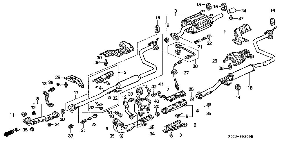 2006 honda civic exhaust system diagram complete wiring diagrams \u2022 2008 honda pilot oem exhaust diagram would exhaust from an 02 05 civic si fit my 99 00 civic si honda rh honda tech com 1999 honda accord exhaust diagram 2002 honda civic exhaust system diagram