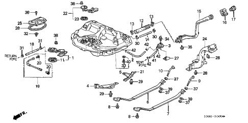 1996 civic CX 3 DOOR 5MT FUEL TANK (1) diagram