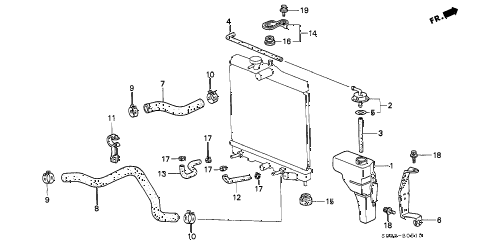1997 civic DX 3 DOOR 5MT RADIATOR HOSE diagram