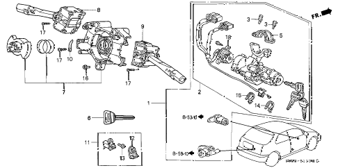 2000 civic CX 3 DOOR 5MT COMBINATION SWITCH diagram