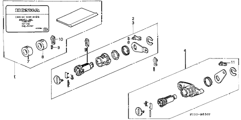 1996 civic CX 3 DOOR 5MT KEY CYLINDER KIT diagram