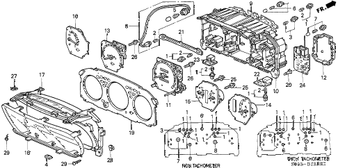 1997 civic DX 3 DOOR 5MT METER COMPONENTS diagram