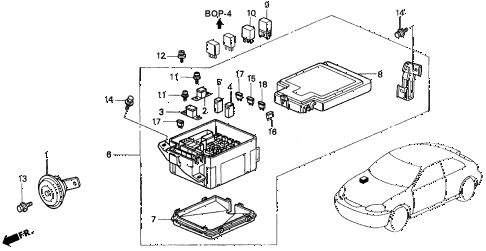 1998 civic CX 3 DOOR 5MT CONTROL UNIT (ENGINE ROOM) diagram