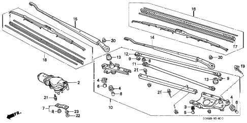 1997 civic DX 3 DOOR 5MT FRONT WINDSHIELD WIPER diagram