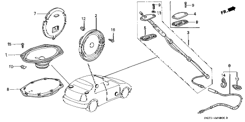 1998 civic CX 3 DOOR 5MT ANTENNA - SPEAKER diagram