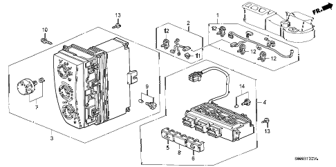 2000 civic CX 3 DOOR 5MT HEATER CONTROL (2) diagram