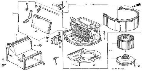 2000 civic DX 3 DOOR 5MT HEATER BLOWER diagram
