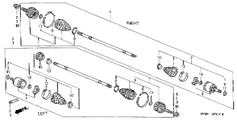 2000 civic DX 3 DOOR 5MT DRIVESHAFT (2) diagram