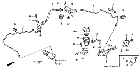 1998 civic CX 3 DOOR 5MT CLUTCH MASTER CYLINDER diagram