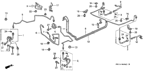 1996 civic CX 3 DOOR 5MT BRAKE LINES diagram