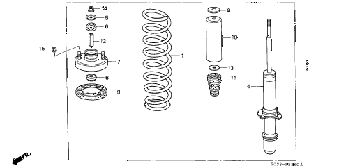 1997 civic DX 3 DOOR 5MT FRONT SHOCK ABSORBER diagram
