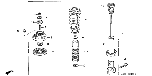 2000 civic CX 3 DOOR 5MT REAR SHOCK ABSORBER diagram