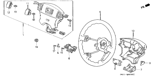 1998 civic CX 3 DOOR 5MT STEERING WHEEL (SRS) diagram