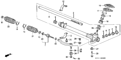 2000 civic CX 3 DOOR 5MT STEERING GEAR BOX diagram