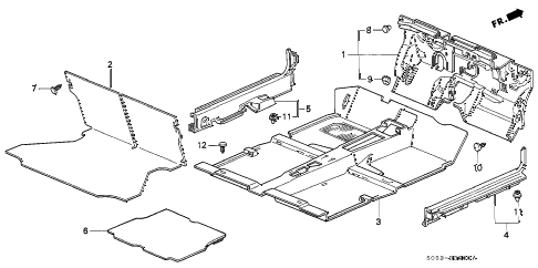 1996 civic CX 3 DOOR 5MT FLOOR MAT diagram