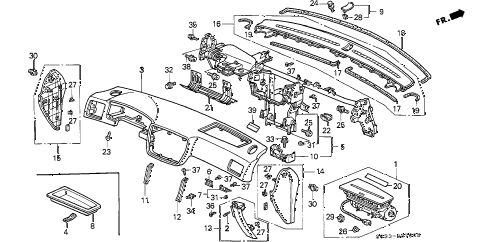 1998 civic CX 3 DOOR 5MT INSTRUMENT PANEL diagram