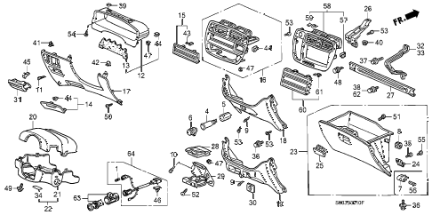 1998 civic CX 3 DOOR 5MT INSTRUMENT GARNISH diagram