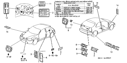 2000 civic DX 3 DOOR 5MT EMBLEMS diagram