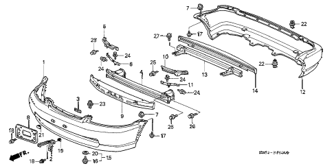 1996 civic CX 3 DOOR 5MT BUMPER diagram