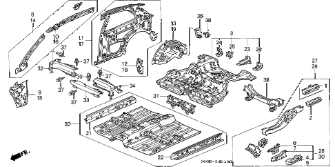 1998 civic CX 3 DOOR 5MT INNER PANEL diagram