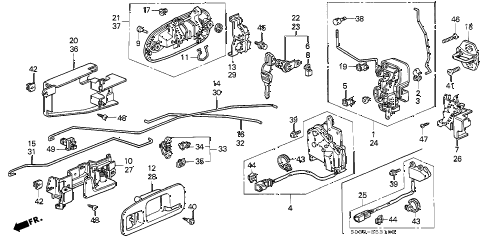 1998 civic CX 3 DOOR 5MT DOOR LOCK diagram