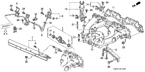 1997 civic DX 3 DOOR 5MT INTAKE MANIFOLD (DOWN FLOW) diagram