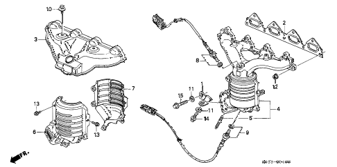 1998 civic CX 3 DOOR 5MT EXHAUST MANIFOLD (DOWN FLOW) diagram