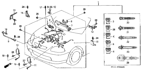 2000 civic DX 3 DOOR 5MT ENGINE WIRE HARNESS diagram