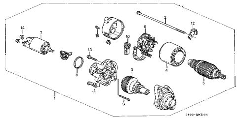 2000 civic CX 3 DOOR 5MT MT STARTER MOTOR (MITSUBA/CME) (MT) diagram