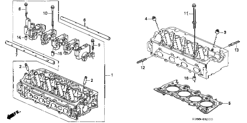1997 civic DX 3 DOOR 5MT CYLINDER HEAD diagram