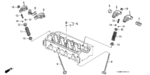2000 civic DX 3 DOOR 5MT VALVE - ROCKER ARM diagram