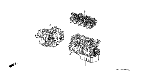 1997 civic DX 3 DOOR 5MT ENGINE ASSY. - TRANSMISSION ASSY. diagram