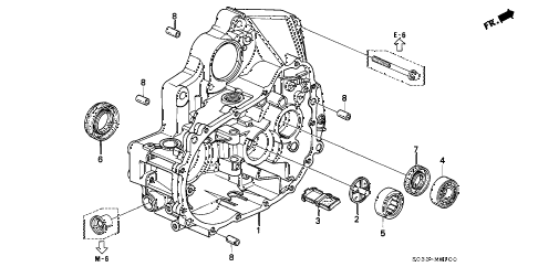 2000 civic CX 3 DOOR 5MT MT CLUTCH HOUSING diagram
