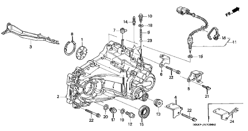 1997 civic DX 3 DOOR 5MT MT TRANSMISSION HOUSING diagram