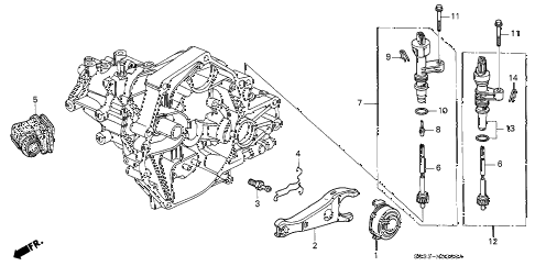 1996 civic CX 3 DOOR 5MT MT CLUTCH RELEASE diagram