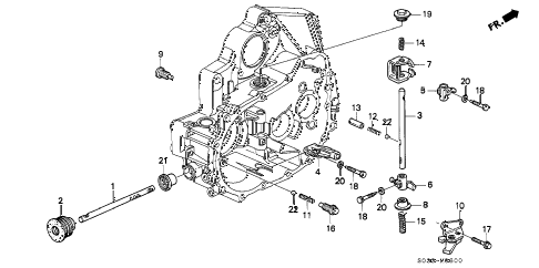 1996 civic CX 3 DOOR 5MT MT SHIFT ROD - SHIFT HOLDER diagram