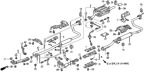 1996 civic DX 4 DOOR 5MT EXHAUST PIPE diagram