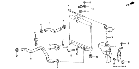 1996 civic DX 4 DOOR 5MT RADIATOR HOSE diagram