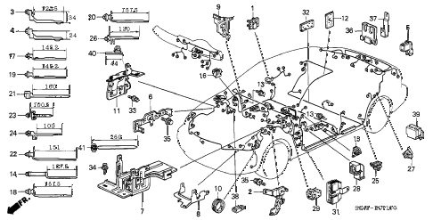 1997 civic LX(A/C) 4 DOOR 5MT HARNESS BAND - BRACKET diagram