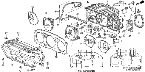 1996 civic DX 4 DOOR 5MT METER COMPONENTS diagram