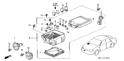 1997 civic LX(A/C) 4 DOOR 5MT CONTROL UNIT (ENGINE ROOM) diagram