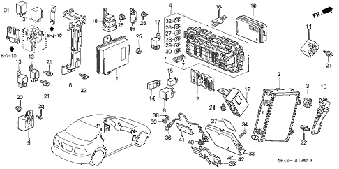 1997 civic LX(A/C) 4 DOOR 5MT CONTROL UNIT (CABIN) diagram