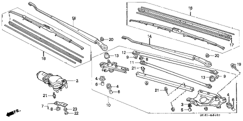 1996 civic DX 4 DOOR 5MT FRONT WINDSHIELD WIPER (2) diagram
