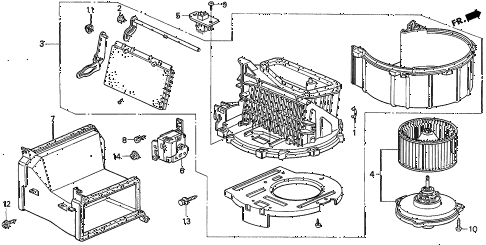 1996 civic DX 4 DOOR 5MT HEATER BLOWER diagram