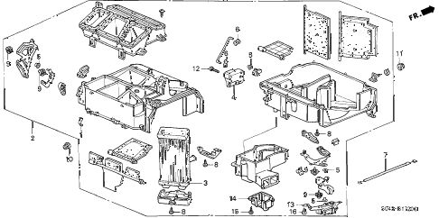 1996 civic DX 4 DOOR 5MT HEATER UNIT diagram