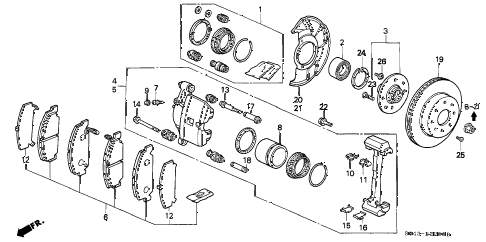 1996 civic DX 4 DOOR 5MT FRONT BRAKE (1) diagram