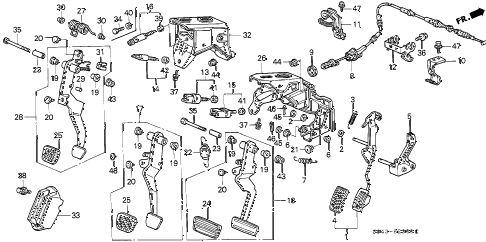 1997 civic LX(A/C) 4 DOOR 5MT PEDAL diagram