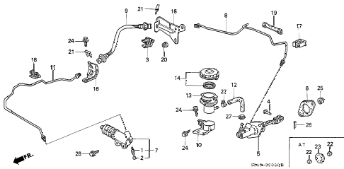 1996 civic LX 4 DOOR 5MT CLUTCH MASTER CYLINDER diagram